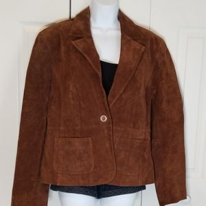 EUC NY&Co Brown Suede Leather Jacket sz 16